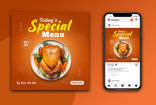 Food Social Media Post Design-Restaurant Ads Design