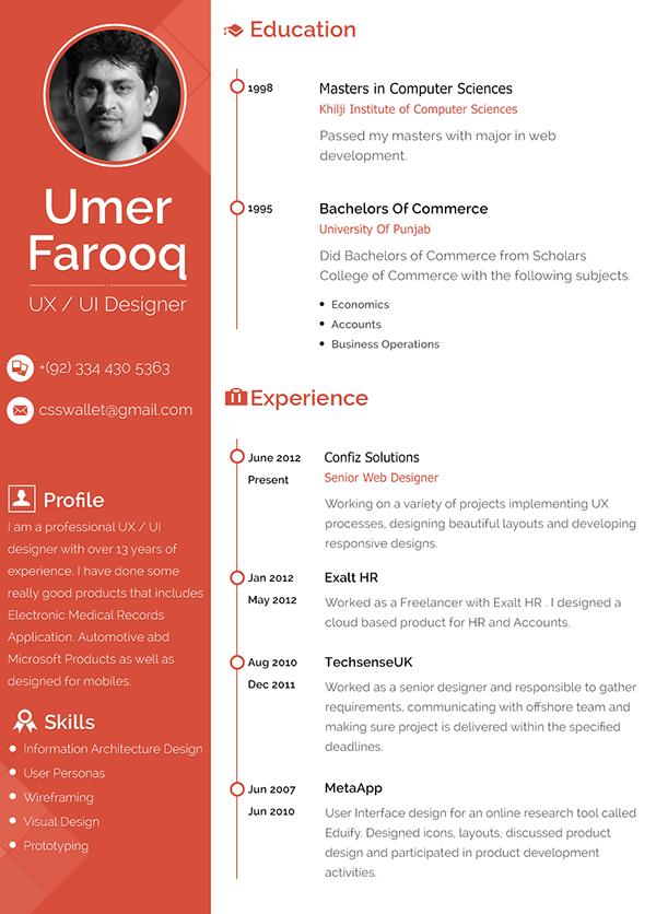 User interface developer resume sample