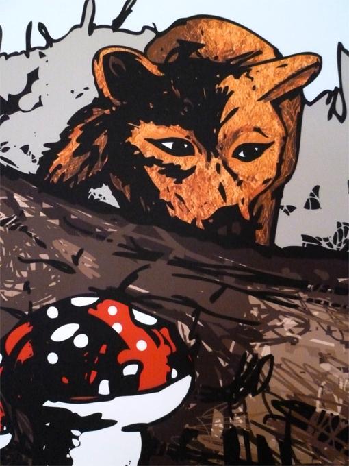 FOX,fawn,Mushrooms,wood