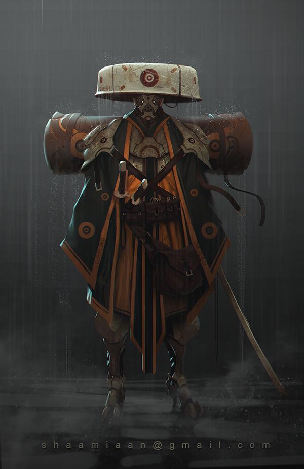 Lukasz Poduch concept art robots samurai sci-fi