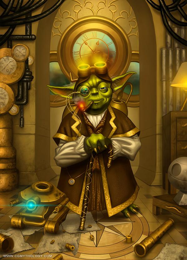 Yoda Character Design : Yoda meets steampunk on wacom gallery
