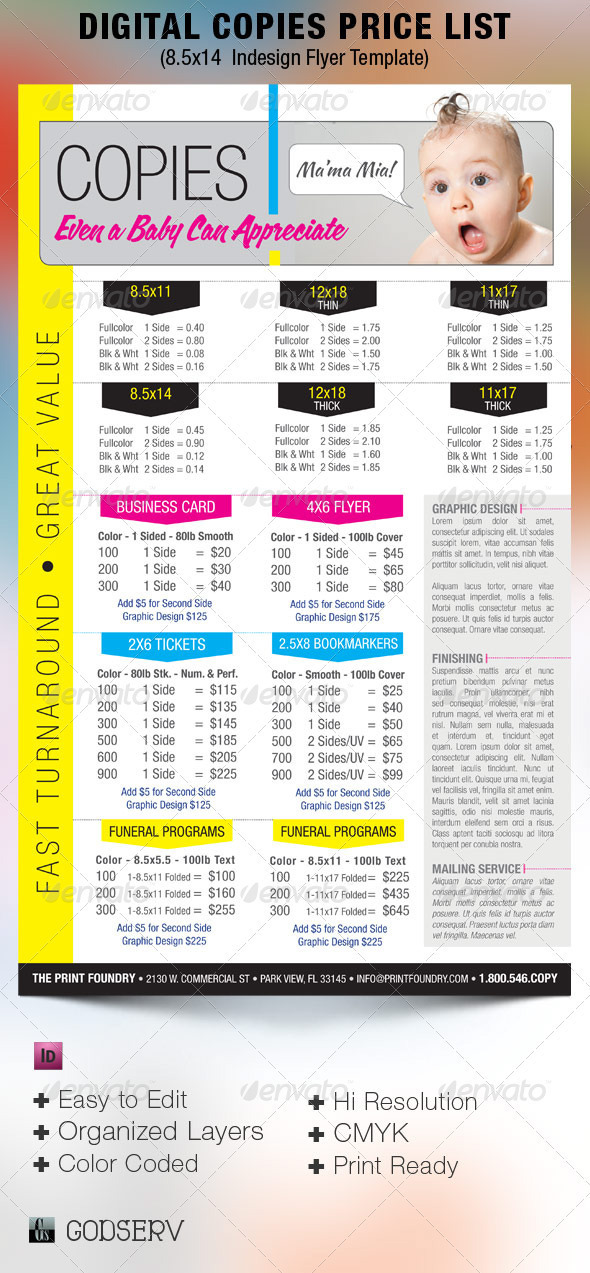 Digital Printing Price List Flyer Template On Behance - Price list brochure template