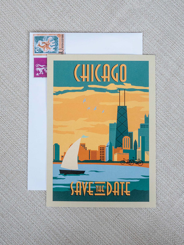 save the date chicago skyline hand drawn Stationery wedding invite Invitation Retro art deco