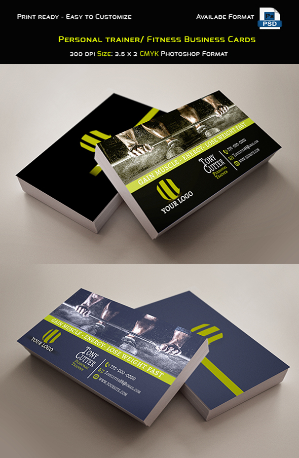 Free personal trainer fitness business cards on behance download here wajeb Image collections