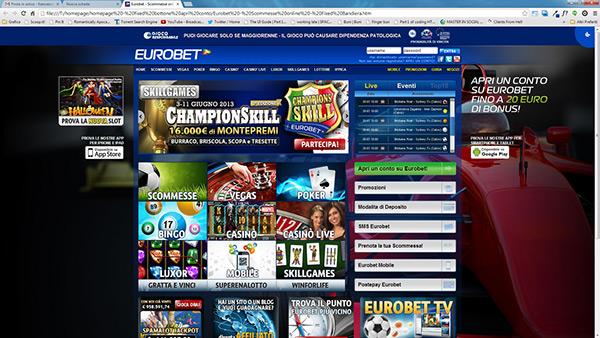 Conto gioco eurobet