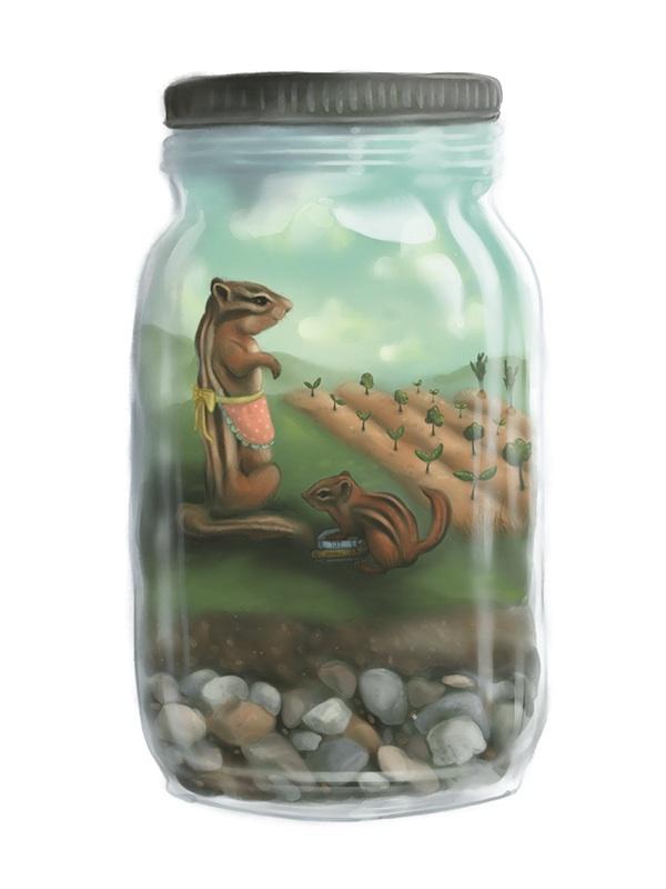 children's illustration animals animal paintings Banjo camping farming