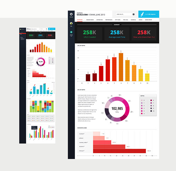 ui design data design flat colors SEO Graphs Interface ad