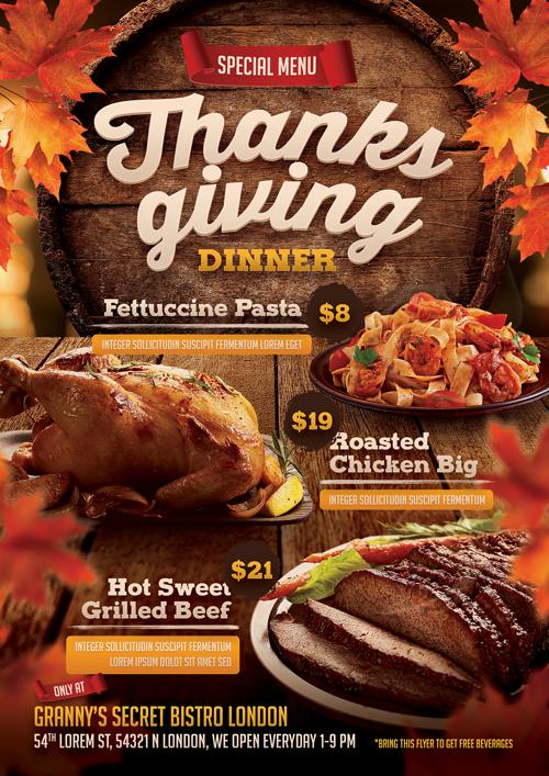 thanksgiving restaurant menu flyer on student show