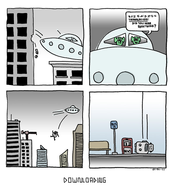 robot comic drawing a day comic strip