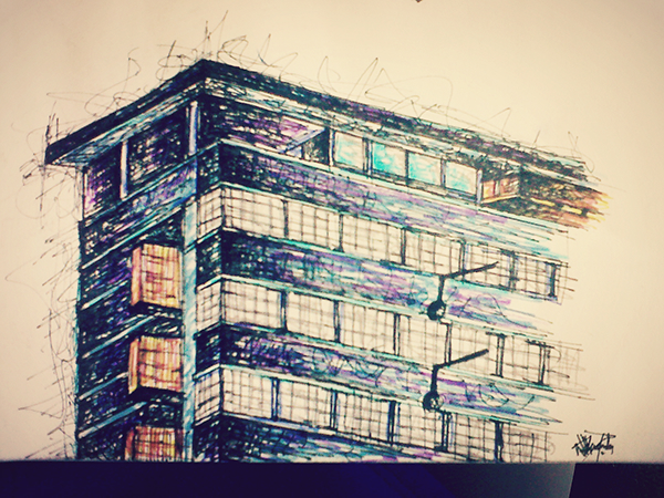 Architectural sketch of fox street studios johannesburg on for Architectural design companies in johannesburg