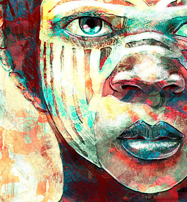africa illustrate paint girl face african wacom Intuos