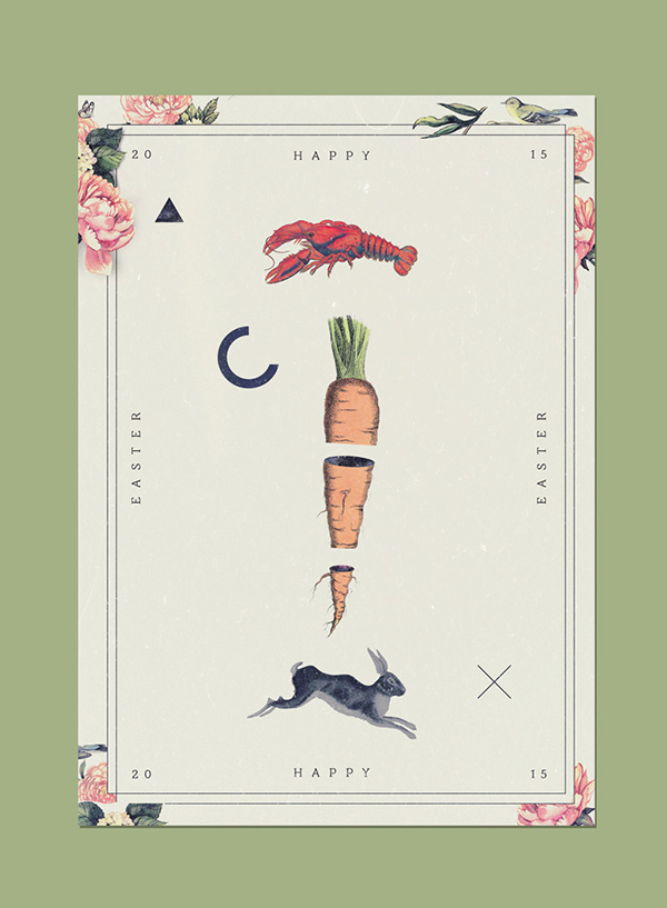 poster collage print Easter bunny lobster vintage Retro