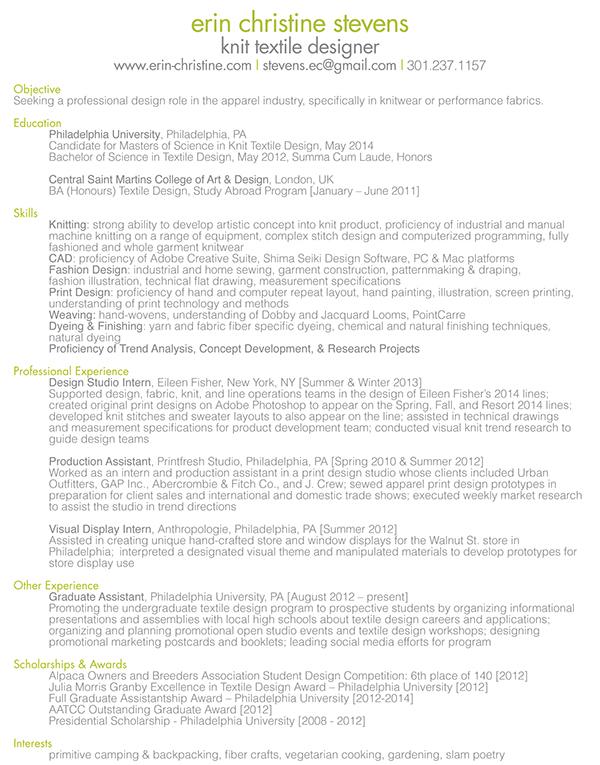 resume on philau portfolios