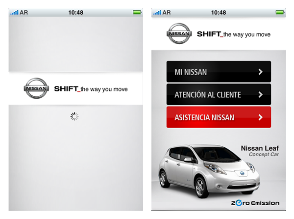 Nissan iphone application Woonky interfase