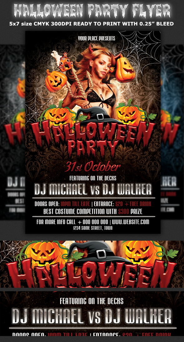halloween party flyer template on behance