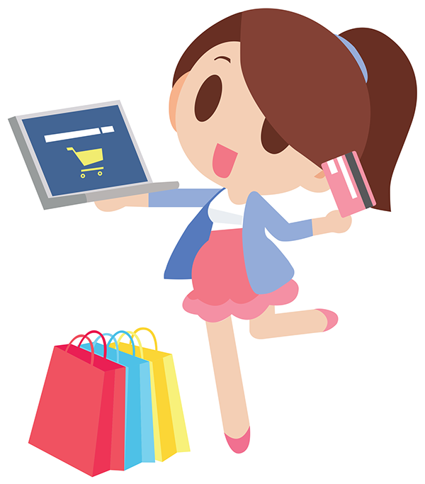 Cartoon Smartphone Helping A Woman To Go Shopping Happy Women Online