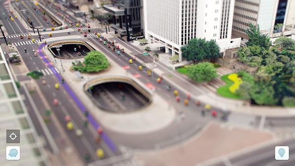 Waze traffic ad tiltshift photo Realism icons Interface Cars