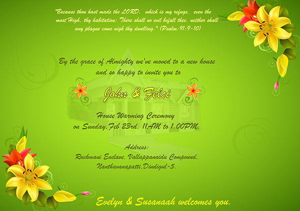 Invitation Letter For Housewarming Ceremony