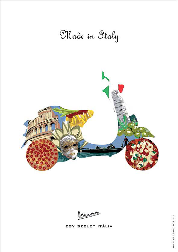 Advertising  Cities colorful creative Feeling of life Foods motorcycle symbols vespa