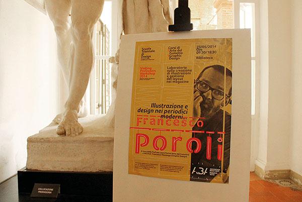 poster,Visiting Professors,francesco poroli,Francesco Mazzenga,Laura Farina,Accademia Belle Arti,perugia,Design editoriale,Studio dei magazine,illustrazione