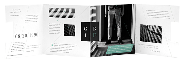 Typographic ID ID gate fold philosophy  personal branding self portrait Didot grid teal connections personal fold