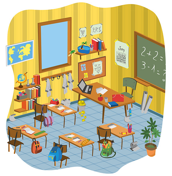School Classroom Cartoon Vector Pack On Pantone Canvas Gallery