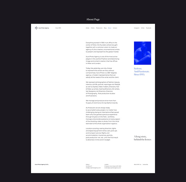 Minimalist design for photo agency from Milan, Italy