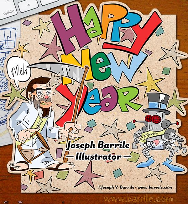 new year card joseph barrile illustrator