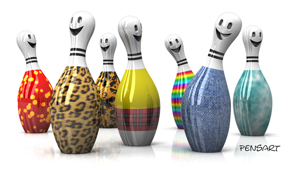 bowling pins party colors happy