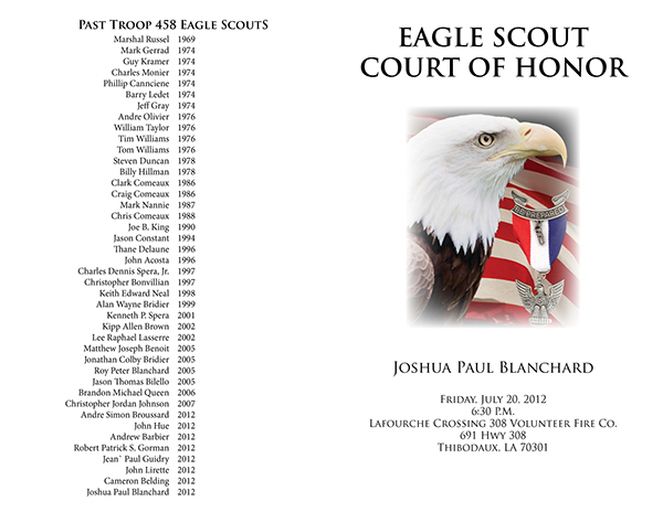 eagle scout court of honor program template - joshua blanchard 39 s eagle court of honor press kit on behance