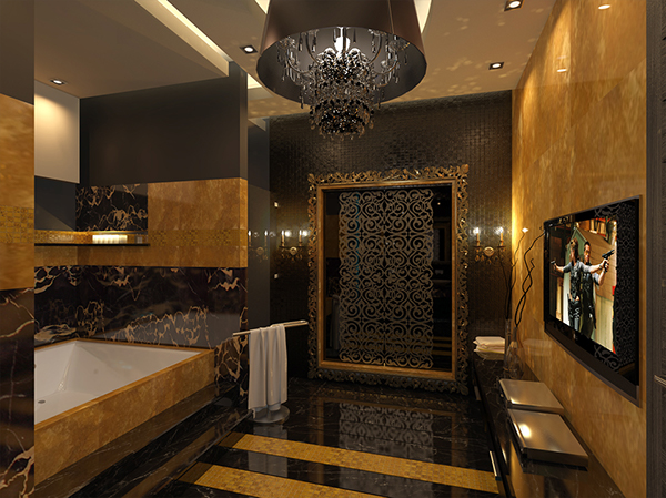 black and gold bathroom on behance