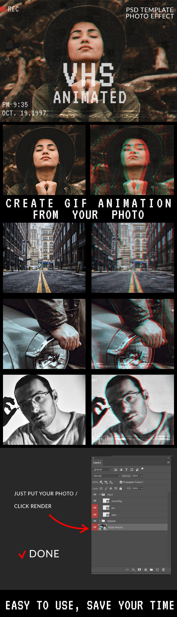 Animated VHS Effect Photoshop Template - 1