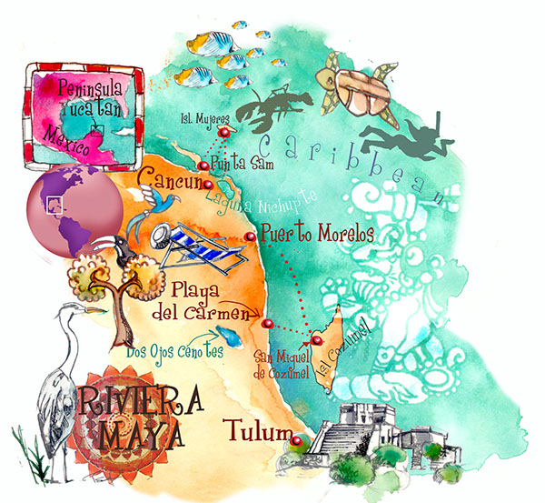 Riviera maya yucatan mexico art map on behance for Sejour complet cancun