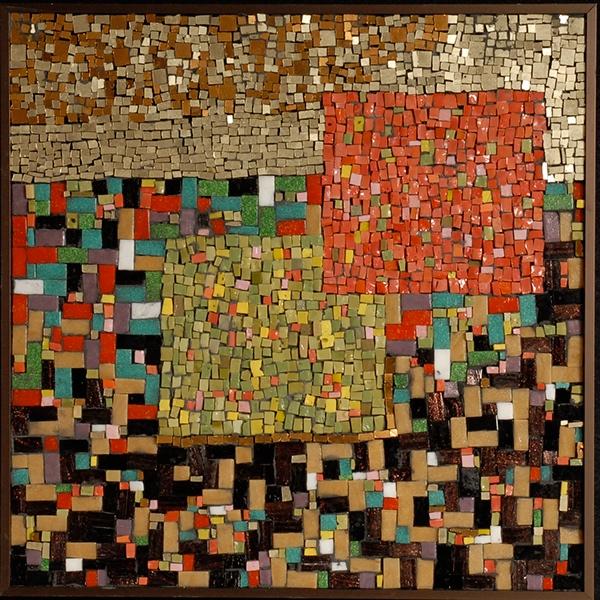 Fine Art Mosaic Mixed Media Mosaic Vintage Gold Mosaic Vitreous and Smalti