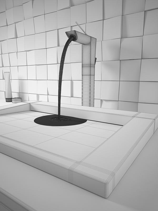 3dsmax 3ds 3D unique3d Faucet washbasin bathroom realflow water