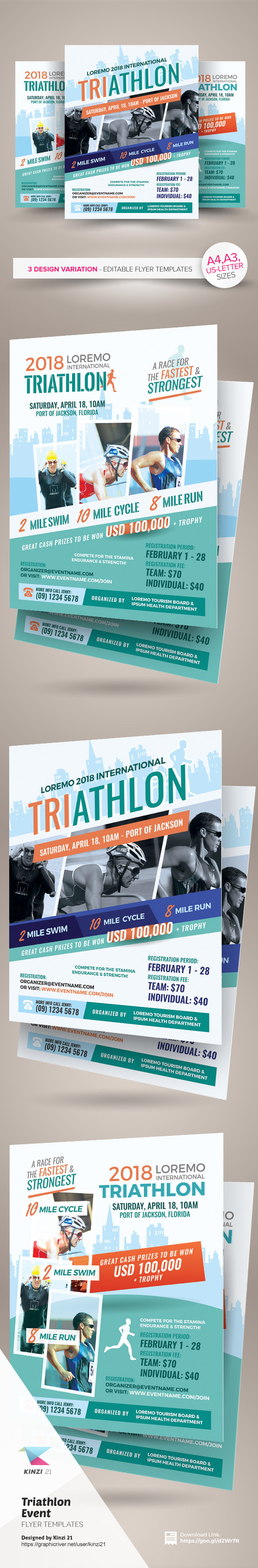 triathlon event flyer and poster templates on behance triathlon event flyer and poster templates are fully editable design templates created for on graphic river more info of the templates and how to get