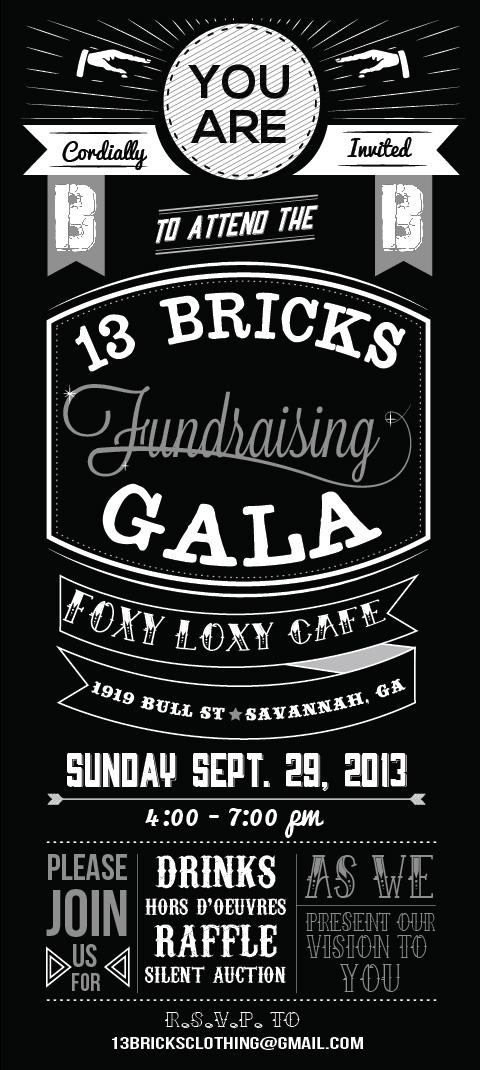 13 bricks fundraising gala invitation on scad portfolios