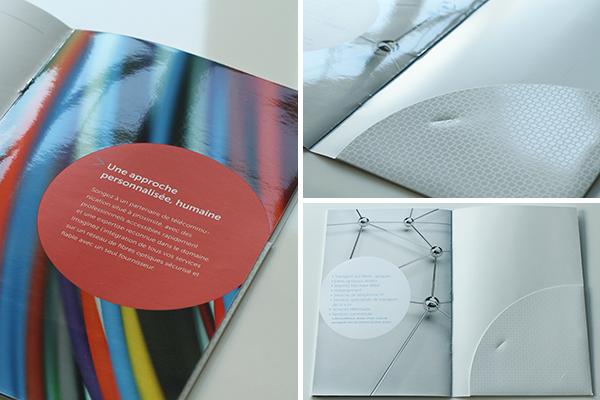 brochure Sogetel spot varnish vernis selectif Technology communication icone business die cut affaire