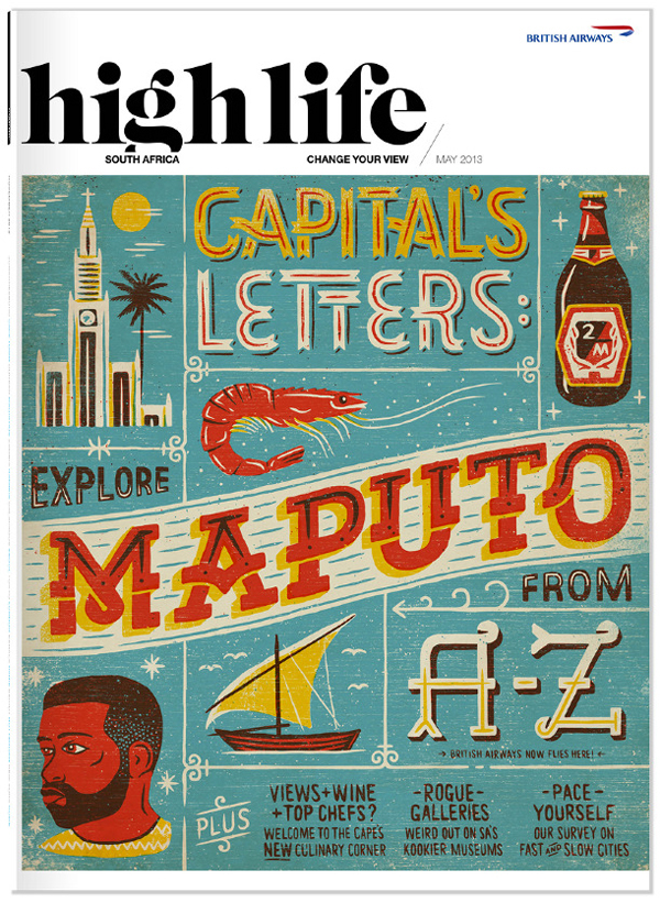 Maputo British Airways Magazine Cover drop caps hand drawn type textures african lettering magazine cover africa type boat face prawn