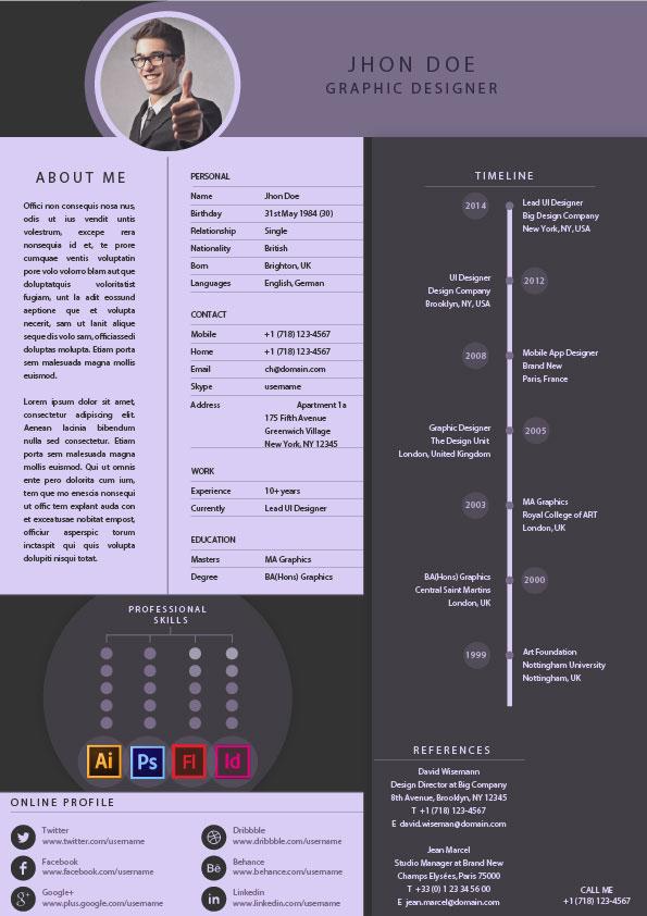 free psd resume templates on behance