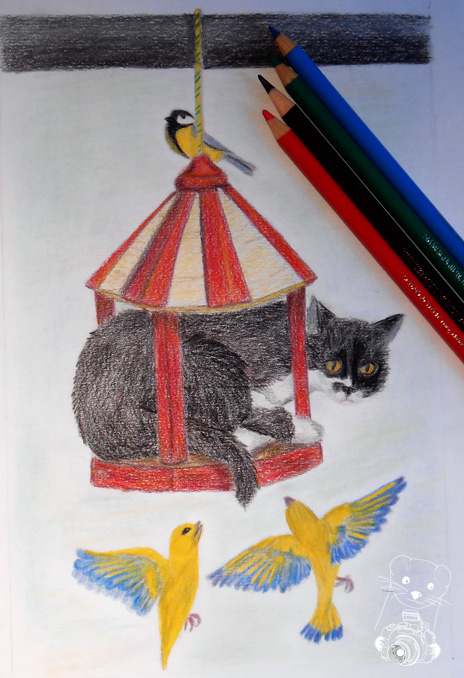 Wolfie in the birds' house - colored pencils on paper, by Robby das Wiesel