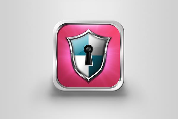 fortress shield security lock defense Icon ios