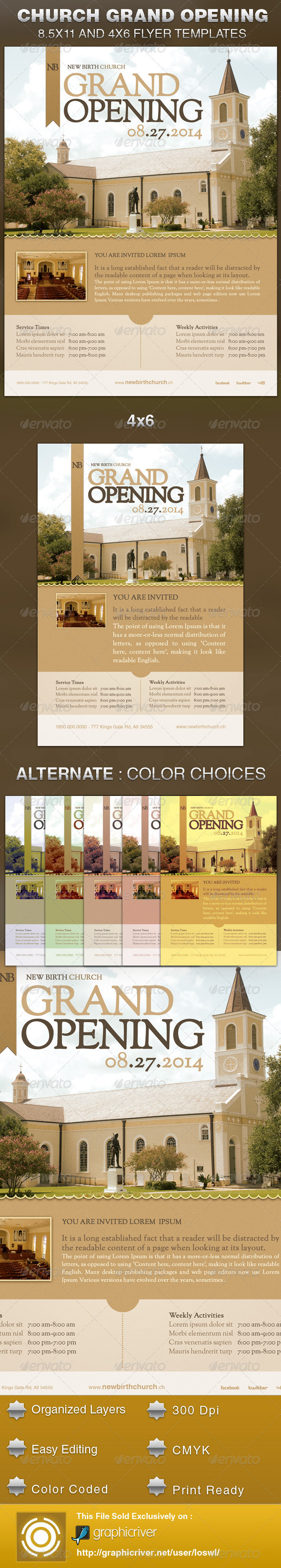 church grand opening flyer template on behance. Black Bedroom Furniture Sets. Home Design Ideas