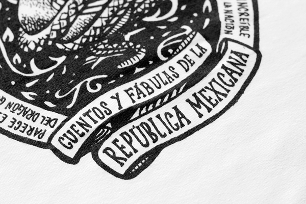 mexico graphic tee post stamps News Paper handwritten tag hadwritten lettering sign painter poem Guadalupe posada guadalupe posada