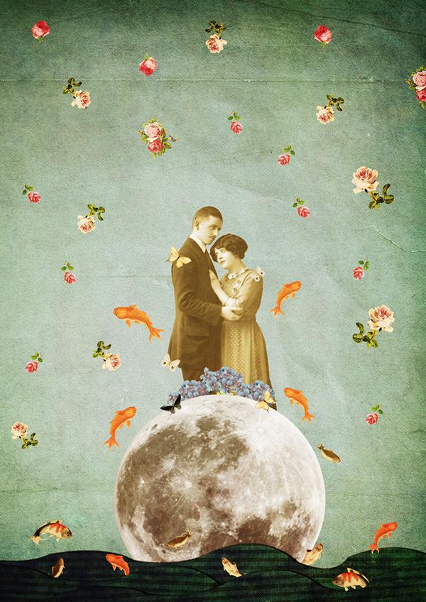 collage poem moon fishes vintage sea