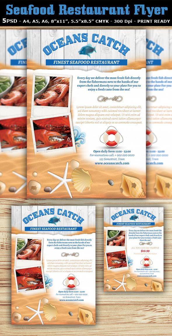 Seafood Restaurant Flyer Template on Behance