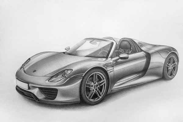porsche 918 spyder pencil on behance. Black Bedroom Furniture Sets. Home Design Ideas
