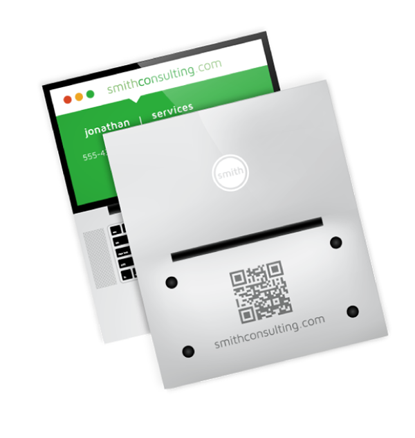 Printing green business card Computer Repair QR Code services Website creative Laptop flat colorful tent marketing   folded
