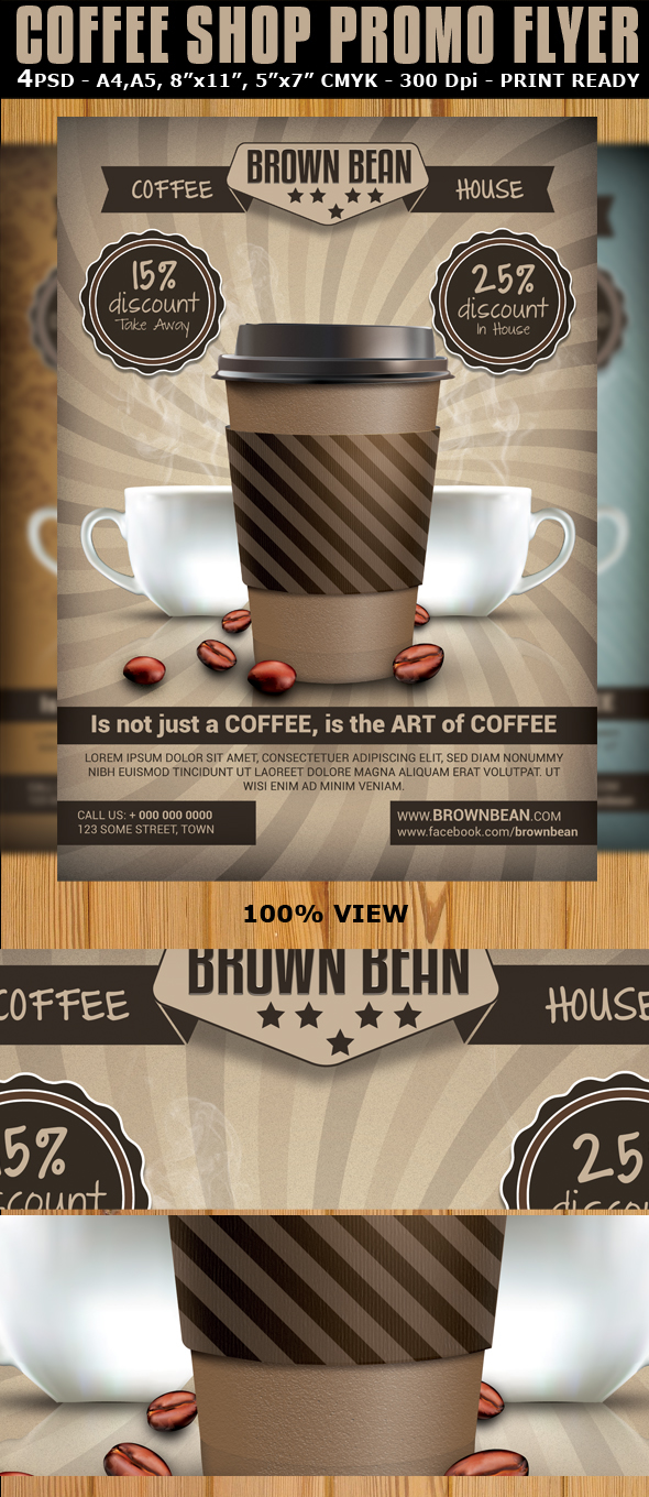 Coffee Shop Magazine Ad or Flyer Template V2 on Behance