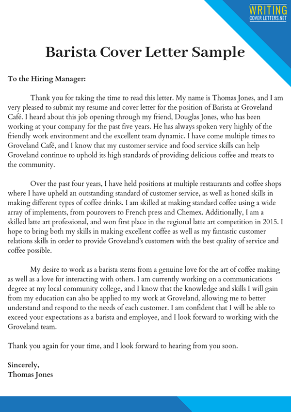 Good Barista Cover Letter On Pantone Canvas Gallery
